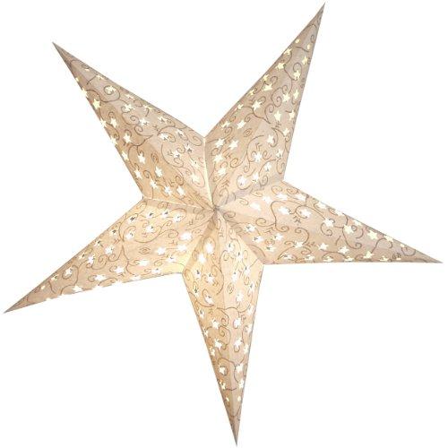 BRUBAKER Papierstern Weihnachtsstern mit floralem Glitzer-Print auf Dekorpapier - Weiß Silber 60 cm Ø