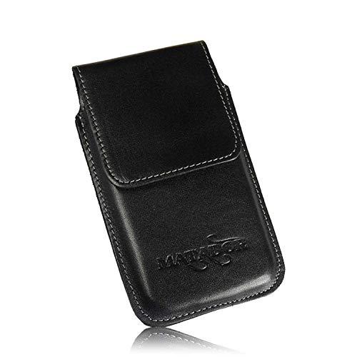 MATADOR kompatibel mit iPhone 6 / 6s Ledertasche Echt Leder Hülle Case Magnet Clip Schlaufe Schwarz (Clip Für Handy)