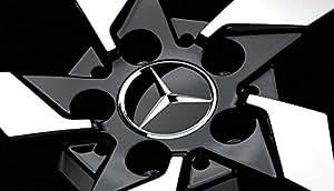 2x Original Mercedes Benz Housse de volant PAC pour moyeu de roue d'enjoliveurs de roue pour Capuchon de moyeu de roue pour couvercle décoratif Noir brillant/chromé/étoiles b66470200/a2204000125Classe E/Classe CL CLS SLK ml GLK une Classe B Classe C W204W212/W210/W221W220C209W207W246Diamètre: 3en