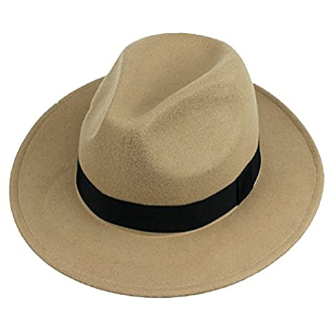Zhuhaitf Excellent Mens Classic Style Hand Made Cap Fedora Felt Wool Trilby Hat 1294