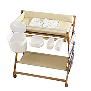 Wood Baby/Infant Changing Tables On Wheels, Folding Diaper Organizer Station with Storage, Table Height Adjustable (Color : White)   2