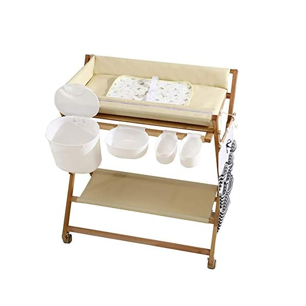 Wood Baby/Infant Changing Tables On Wheels, Folding Diaper Organizer Station with Storage, Table Height Adjustable (Color : White) GUYUE Beech Material: Birch wood hard, good load bearing performance, no deformation, strong pressure resistance, clear texture. High-grade PU Leather: It has excellent wear resistance, excellent breathability, aging resistance, soft and comfortable. Size: As shown, 80x56x(80-85-90-95)cm, Bearing weight 150kg. 1
