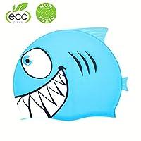 Traling Swimming Cap Kids, Silicone Swim Hat Animal Fish Shaped for Children Boys Girls (Shark Blue)