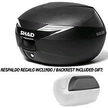 SHAD - D0B39106-KIT1/214 : Baul maleta trasera moto con respaldo y tapa simil carbono de regalo SH39 SH 39 39L