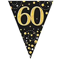 Oaktree UK Sparkling Fizz Black & Gold 60th Birthday Flag Bunting