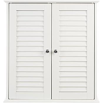 Premier housewares badezimmer hängeschrank mit lamellen doppeltür 55 x 52 x 22 cm
