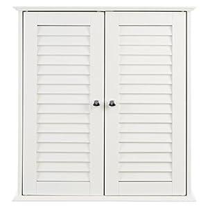 Premier Housewares – Armario de baño para la Pared con 2 Puertas (55 x 52 x 22 cm), Color Blanco