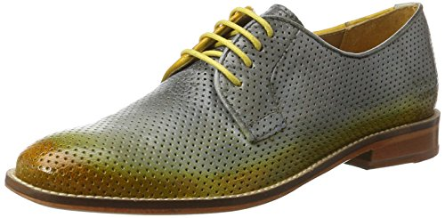 Melvin & Hamilton Amelie 9, Derby femme Grau (Venice Perfo/ Venice Morning Grey/Yellow/Shade Yellow LS-NAT.)
