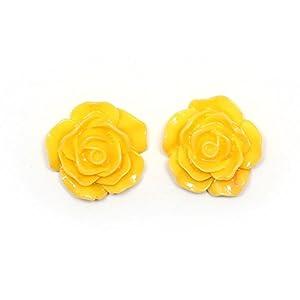 Idin Ohrclips – Gelbe Blume (groß) (ca. 18 mm across)