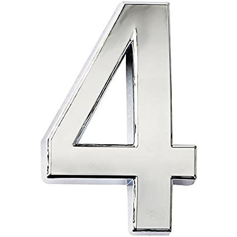 Piccolo argento moderno numero civico, Moderno lettere numeri adesivo 3d, in metallo effetto riflettente, autoadesivi numero luccicanti, galleggiante, numero civico segni vinile numero, Argento, 4 - 2 Autoadesivi Lettere