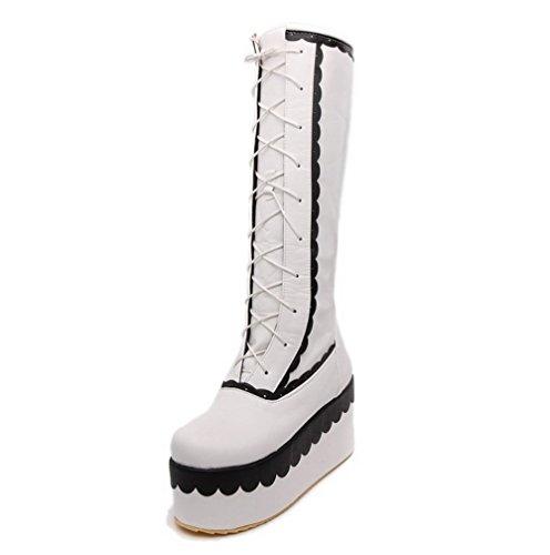 VogueZone009 Damen Hoher Absatz Gemischte Farbe Rund Zehe Weiches Material Schnüren Stiefel Weiß
