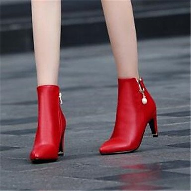 GLL&xuezi Da donna Stivaletti Comoda Pelle nubuck PU (Poliuretano) Autunno Inverno Casual Nero Rosso 10 - 12 cm black