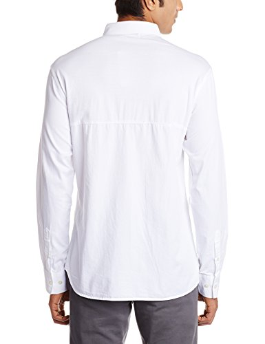 French Connection Mens Pluto Mixed Woven Shirt White