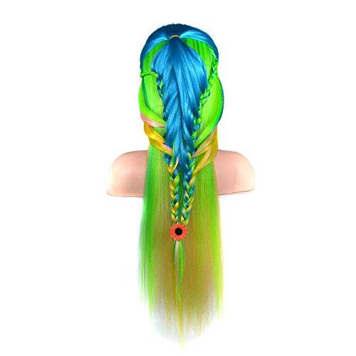 Luckhome Damen Perücke Frauen Lang Haar Wig Für Karneval Oder Cosplay Party, Fasching Kostüm Ombre Haarteil Buntes Haar, Das Übungs Ausbildungs Hauptmannequin Frisur Anredet Perrücke (F)