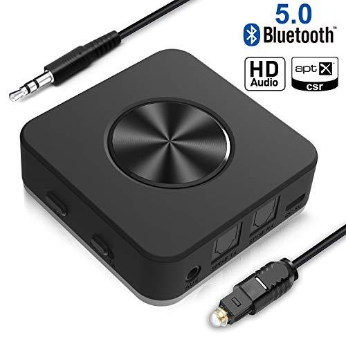 Émetteur Bluetooth 5.0 Transmetteur et Récepteur 20m 3,5 mm Yuanguo 15 H d'Autonomie Optique Digital TOSLINK Adaptateurs Bluetooth RCA aptX HD LL pour Maison et Voiture Faible Connexion Optique