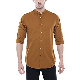 Dennis Lingo Men's Solid Slim Fit Casual Shirt (CC201_Brown_S_Brown_S)