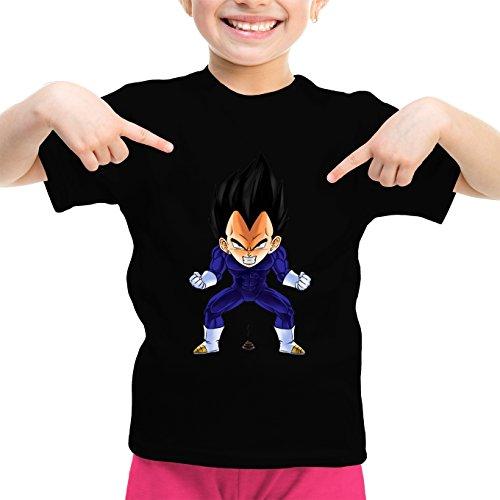 Okiwoki T-Shirt Enfant Fille Noir Dragon Ball Z - DBZ parodique Végéta : Super Caca Vol.2 (Parodie Dragon Ball Z - DBZ)