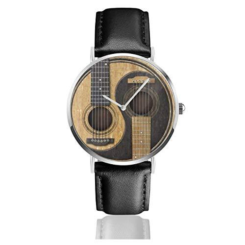 Alte und abgenutzte Akustikgitarren Yin Yang Schwarz Quarzwerk Edelstahl Lederband Uhren Lässige Mode Armbanduhren