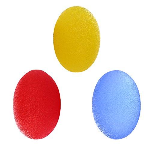 3 PIEZAS Con forma de huevo Grip Balls Bola antiestrésEjercitador de mano Dedo Antebrazo Mano Músculos Entrenador Dedo Streching Formación con diferentes grados de dureza
