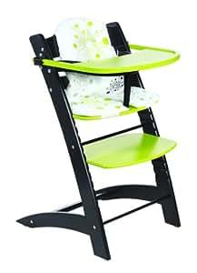 Chaise haute évolutive Bois Noir anis - Badabulle