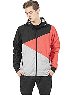 MAG Urban Classics TB247Zig Zag Windrunner chaqueta hombre Streetwear Windbreaker, Small