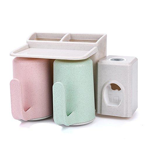 YASHUAJIA 6 Racks Staubdicht Wand-Zahnbürstenhalter mit Mundwasser Tasse - Für den Bad Familien-Halter, für Erwachsene und Kinder, 2 Arten, Style 2