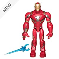 Disney Store Marvel Toybox Iron Man Action Figure - Posable figure with articulated limbs and repulsor blast accessory