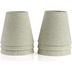 Fuloon Lot de 6 Pièces Abats-jour de Lampe en Tissu pour Lustre Applique Type de Bougeoir (Beige)