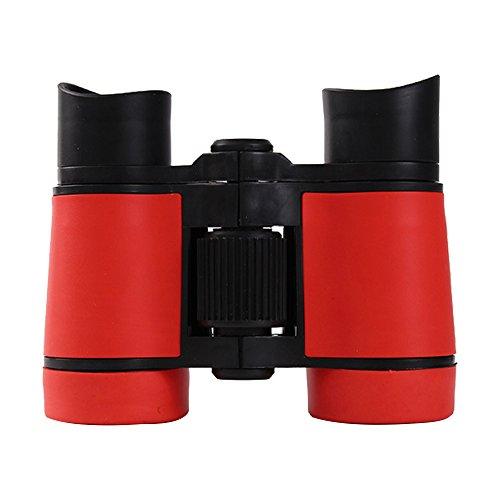 Ensemble de jumelles pour enfants, mini télescopes en caoutchouc compacts pour l'observation des oiseaux, la chasse, la randonnée, les cadeaux d'anniversaire, cadeaux pour enfant (rouge)