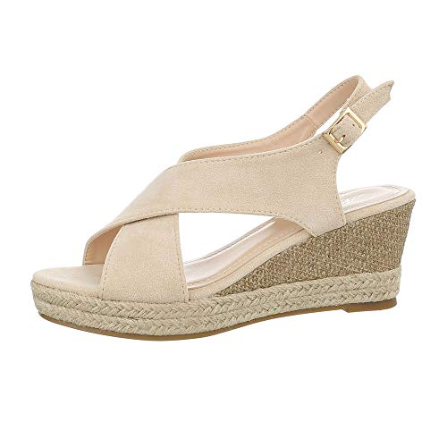 Ital-Design Damenschuhe Sandalen & Sandaletten Keilsandaletten Synthetik Beige Gr. 38 3 Strap Sandalen