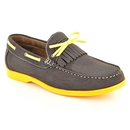 Neue Men's Casual offiziellen Smart Boat Schuhe mit Spitze, Größe Grau