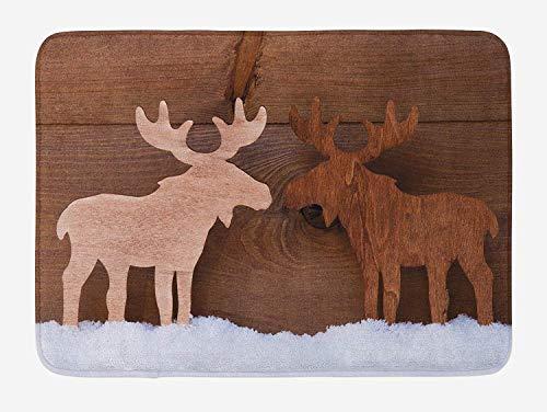 Elch Badematte, Timber Elk Figur in verschiedenen Tönen Romantische Noel Time Romance Joy Vintage Style, Plüsch Badezimmer Dekor Matte mit rutschfester Rückseite, 60X40 cm, Braun und Hellbraun