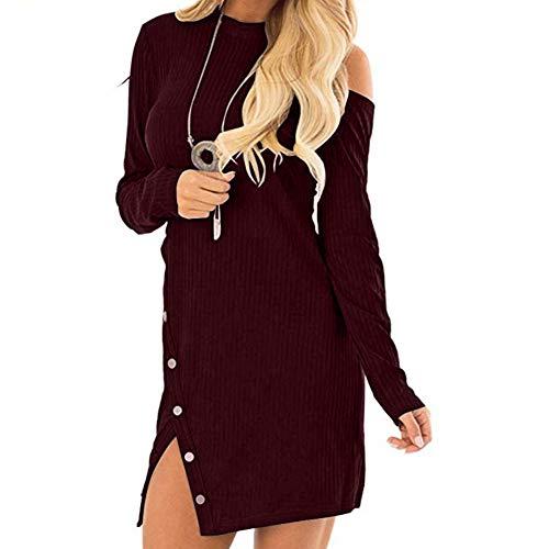 wAddhFC Damen Kleid Langarm Rundhalsausschnitt Asymmetrisch M rot (Kommunion Kleider Erste Die Baumwolle)