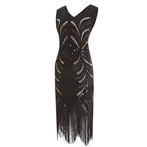 Hffan 1920s Kleid Damen Flapper Kleid mit Kurzem Ärmel Gatsby Motto Party Kostüm Kleid Retro 20er Jahre Stil Flapper Kleider mit Fransen V Ausschnitt Motto Party Kleider Kostüm