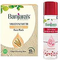 Banjaras Multani Mitti with Sandal Face Pack Powder, 100g & Rose water 120ml COMBO