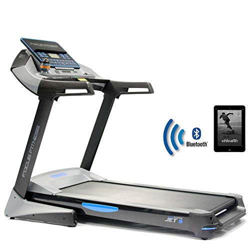 Focus Fitness Laufband Jet 9 iPlus - 2,5 PS 20 km/h - Smartphone/tablet App kompatibel - Klappbar - Belastbarkeit bis 150 kg - Semi-Professionell Treadmill