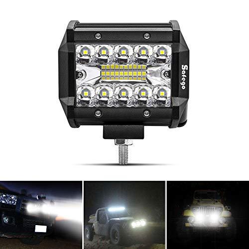 Safego 4' 60W Faro da Lavoro Luce Barra 1260LM Faretto a LED Impermeabile IP67 Fendinebbia Luci per Off Road Auto SUV ATV Camion Barca Mining Spotlight 12V 24V, 1 anno di Garanz