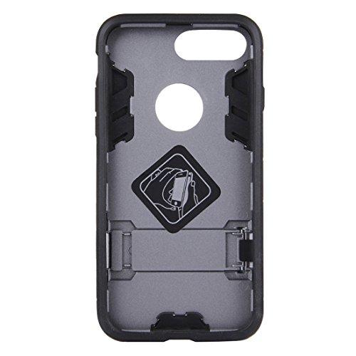 Hülle für iPhone 7 plus , Schutzhülle Für iPhone 7 Plus Trennbare TPU + PC Kombi-Gehäuse mit Halter ,hülle für iPhone 7 plus , case for iphone 7 plus ( Color : Silver ) Grey
