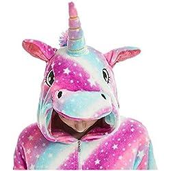 Animal Cosplay Costume Adulte Licorne Onesie Pyjamas Avant Fermeture Éclair Cosplay Vêtements De Nuit Halloween Costume (Purple Licorne, L/Hauteur 168-177cm)