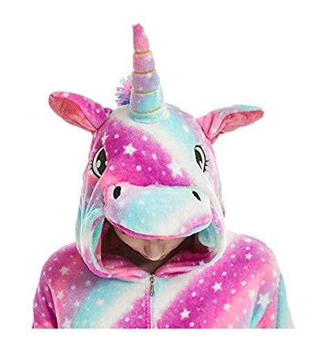 FMDD Tier Cosplay Kostüm Einhorn Cosplay Kostüm Onesie Pyjamas Erwachsene Halloween Cosplay Kostüm (Lila Einhorn, L(Höhe 168-177 (Pyjama Onesies Kostüm)