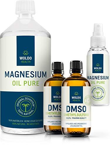 Magnesiumöl Zechstein & DMSO Dimethylsulfoxid 99.9{de8305713abb87aff4b610127f9f1b330d4ed6dbde3a243d96c1b473cd5f0eb8} Reinheit - 1.000ml Magnesium Öl inkl. Spray und 2x 100ml DMSO in pharmazeutischer Qualität
