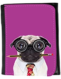 Small Faux Leather Wallet // Q05790621 dumb pug dog Byzantine // Small Size Wallet