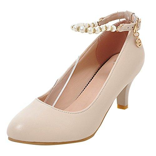 AIYOUMEI Damen Knöchelriemchen Kitten Heel Pumps mit 6cm Absatz und Perlen Kleinem Absatz Schuhe