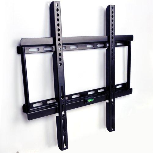 Ultra Delgado Fijo y Seguro soporte de pared para TV 22-55 pulgadas de pantalla, máx Vesa 400x400, distancia de pared 25mm, con nivel magnético de burbuja, compatible con pantalla plana monitor LG Sony Philips Sumsung LED LCD Plasma 3D 4K etc