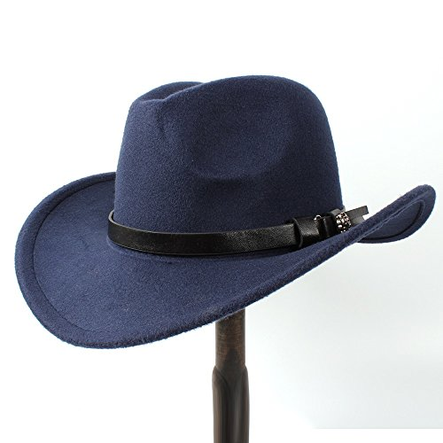 HZP-DE Frauen Männer Western Cowboy Hut Lady Filz Cowgirl Sombrero Caps (Farbe : Dunkelblau, Größe : 56-58CM)