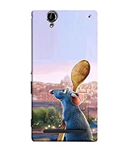 FUSON Designer Back Case Cover for Sony Xperia T2 Ultra :: Sony Xperia T2 Ultra Dual SIM D5322 :: Sony Xperia T2 Ultra XM50h (Rat Mouse Cat Funny Cartoons Wall Disney Arts)
