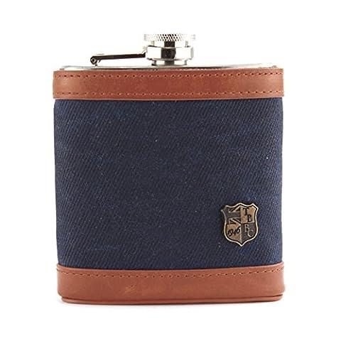 Langdale Flasche aus Edelstahl, mit Hülle aus gewachstem Köper und echtem Leder, 170ml Gr. onesize, navy