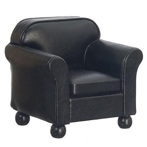 Melody Jane schwarzes Leder Sessel Club Sessel Miniaturmöbel Wohnzimmer