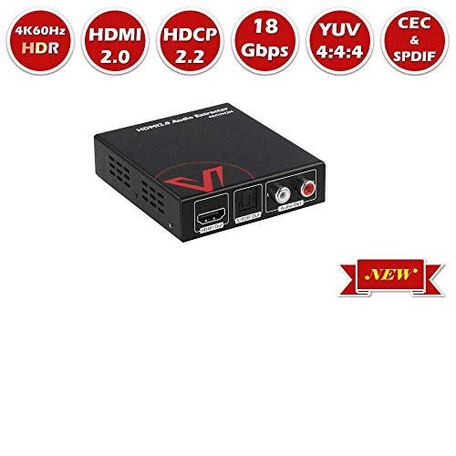 HDMI 2 0 Audio Extractor Converter, 4K@60Hz HDR10 HDCP2 2 HDMI to Optical  Toslink SPDIF + RCA(L/R) Stereo Analog Output, Repeater Splitter for  Speaker