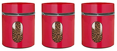 PriorityChef Tea, Coffee, Sugar Jars, Set of 3 Glass Canisters in Red Metal Overlay, Air Tight Screw Top Lids, Perfect Storage Solution
